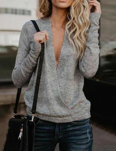 High Quality Hot 2020 European American Autumn Winter Sweater V-neck Rabbit Velvet Stitching Crossover Sweater Women Tops