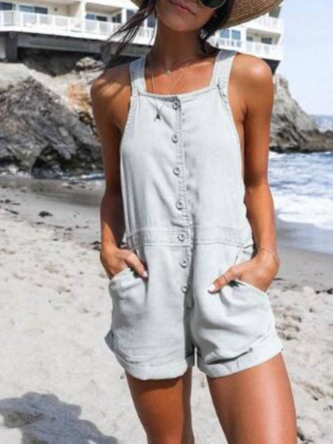 Light Gray Cotton-Blend Casual One-Pieces