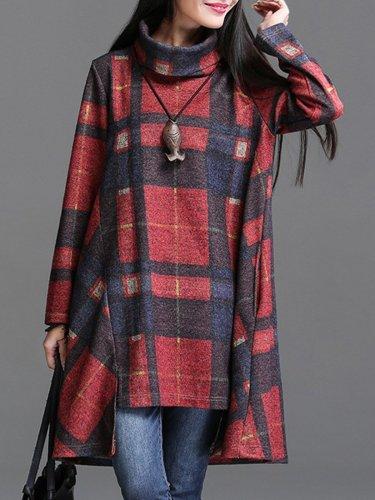 Autumn Winter Casual Plaid Turtleneck Long Sleeve Sweatshirt