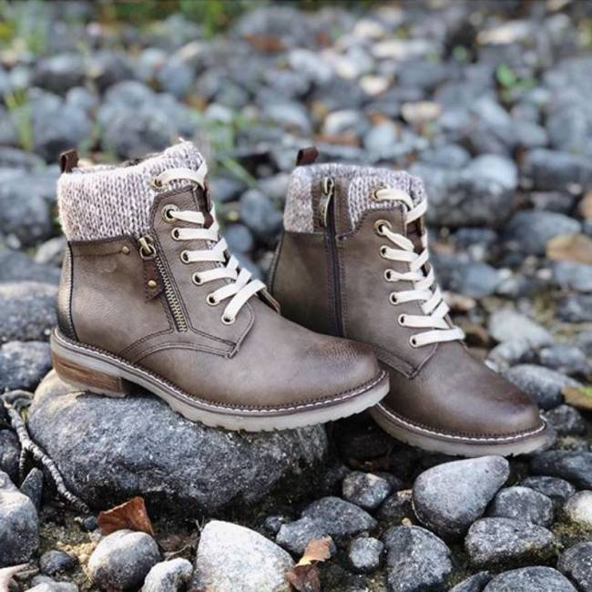 Women Casual Knitted Cuff Ankle Warm Boots
