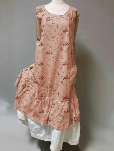 Vintage Casual Plus Size Floral Printed Maxi Dresses