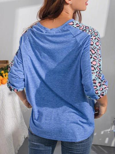 Women's Plus size Stitching Leopard Print Top