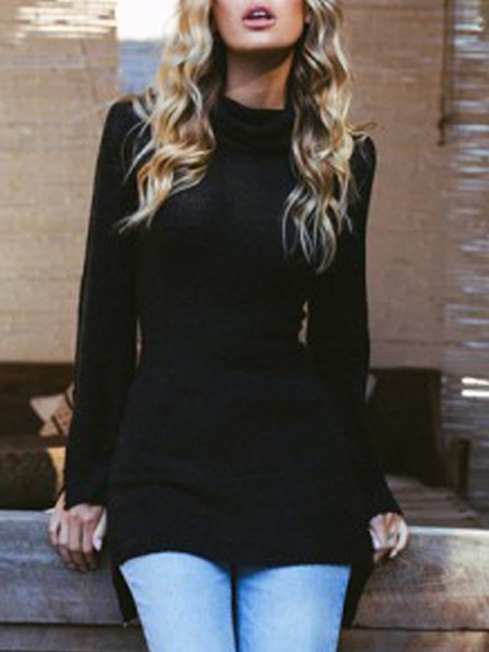 Turtle Neck Long Sleeve Knitted Slit Sweaters