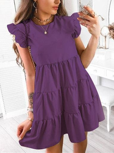 Vintage Frill Sleeve Crew Neck Ruffled Dresses
