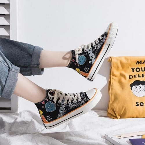 Casual Unisex Hand Drawn Graffiti High-Top Canvas Shoes