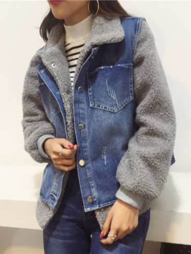 Two Piece Cotton-Blend Plus Jeans Jacket Casual Coat