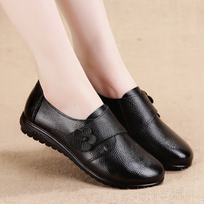 Solid Color Chunky Heel Genuine Leather Magic Tape Spring/Fall Loafers