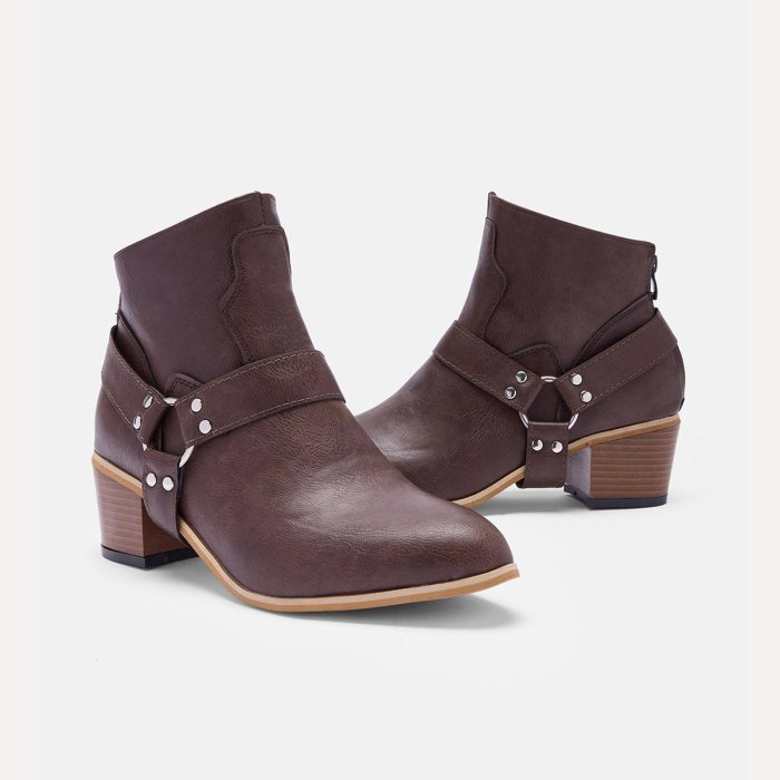 Women Fashion PU Western Booties Casual Zipper Low Heel Ankle Boots