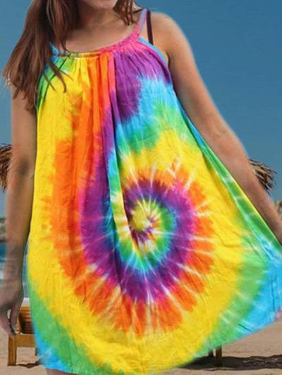 Spaghetti Cold Shoulder Ombre/tie-Dye Dresses