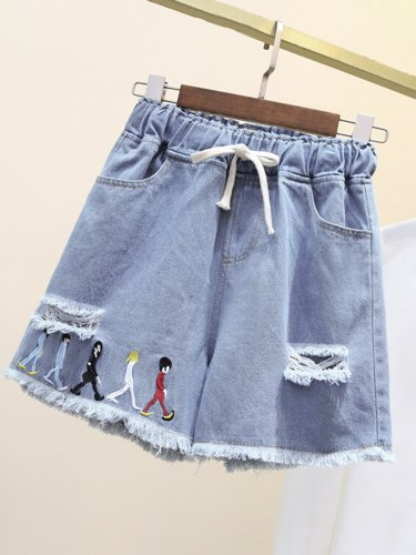 Plus Size Women Denim Casual Shorts