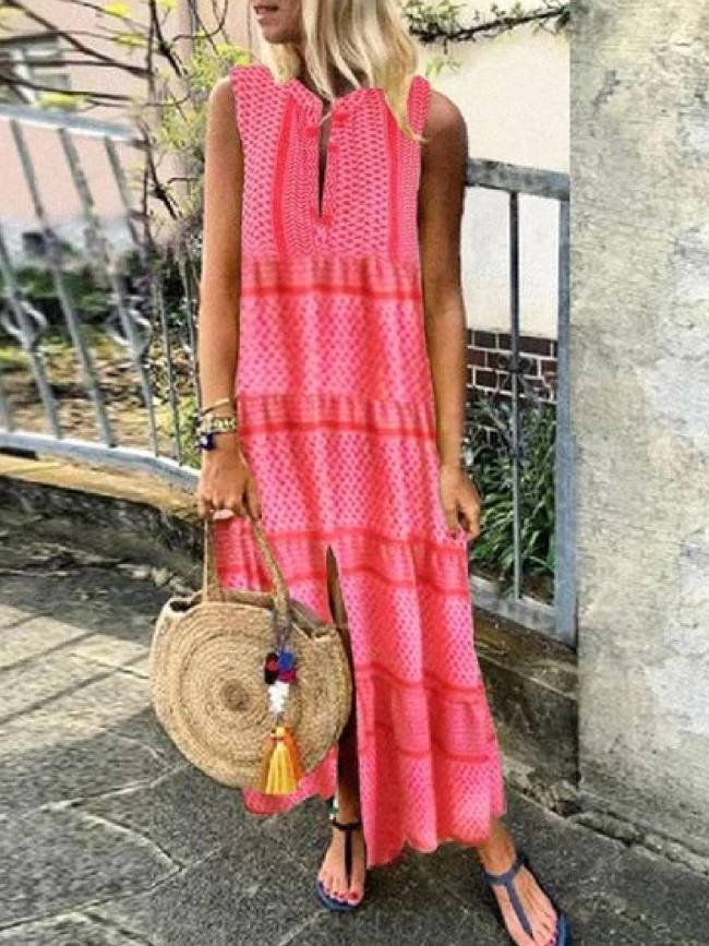 Round Neck Casual Cotton-Blend Striped Dresses