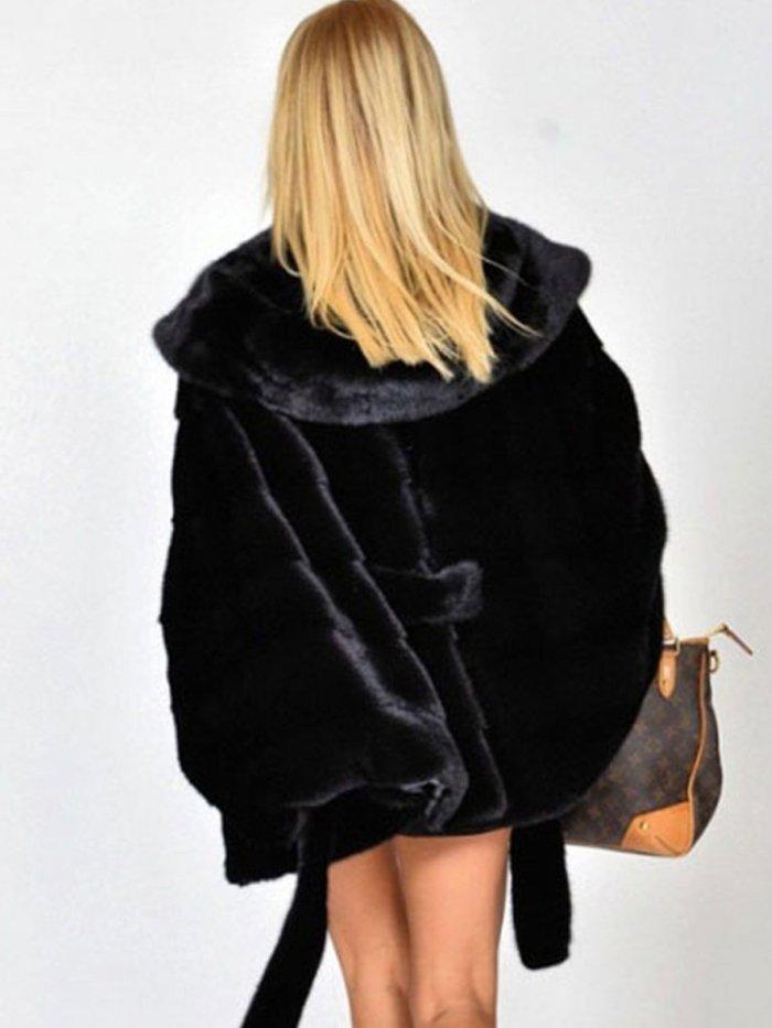 Faux Fur Solid Hoodie Parka Coat with Belt