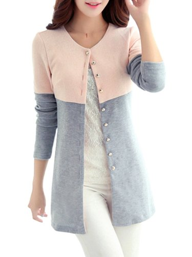 Color-block Casual Crew Neck Knitted Coat