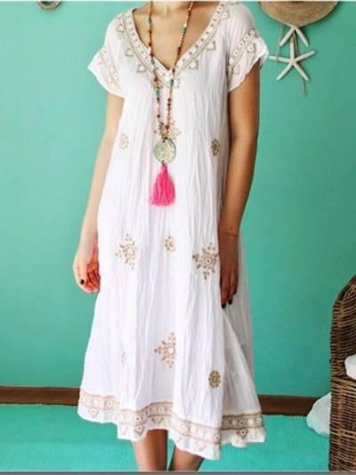 Women Casual V Neck Midi Dresses