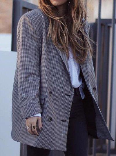 Plaid Elegant Buttoned Outerwear