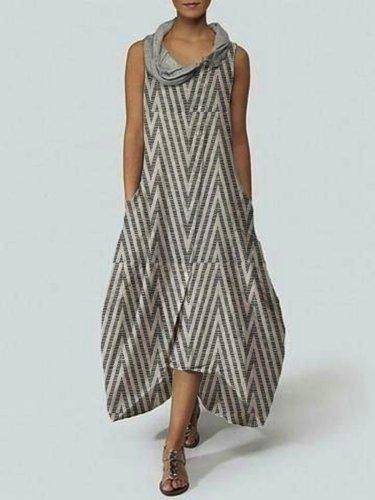 Plain Cotton-Blend Casual Dresses