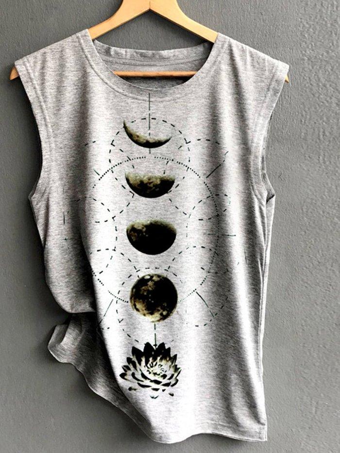 Sleeveless Round Neck Cotton-Blend Shirts & Tops