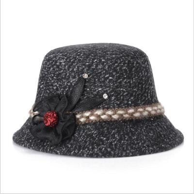 Autumn Winter Fashion Fedora Hat Knitted Basin Hat Woman Wide Elegant Flower Feeling Hats Ladie Mom Hats