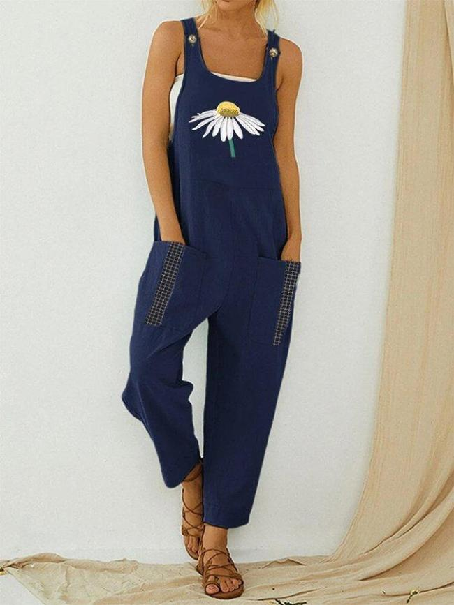 Daisy Floral Printed Straps Jumpsuit With Pocket