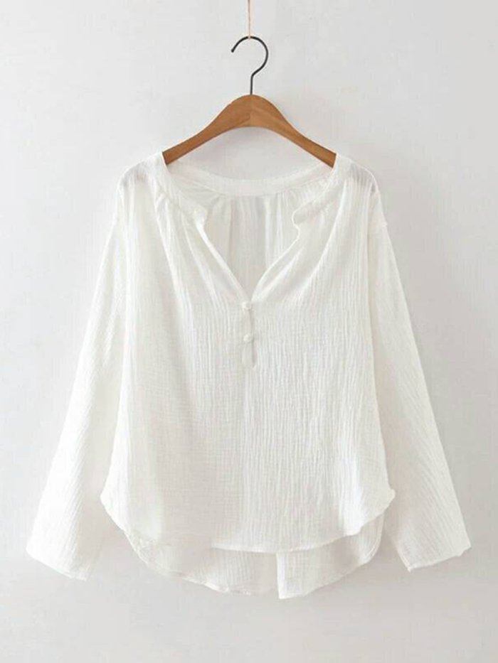Long Sleeve Cotton V neck Solid Blouse