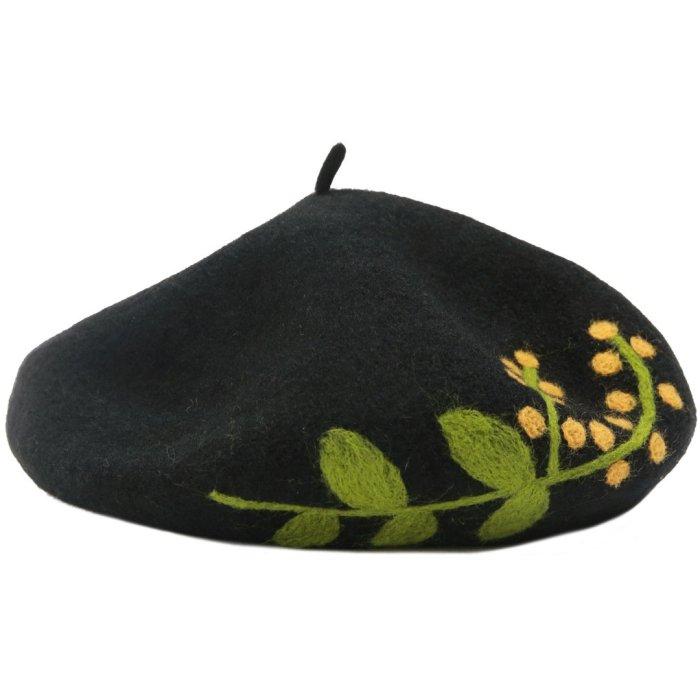 Handmade Felt Flower Wool Beret Female Autumn and Winter Japanese Korean Joker Painter Hat Tide Pumpkin Hat