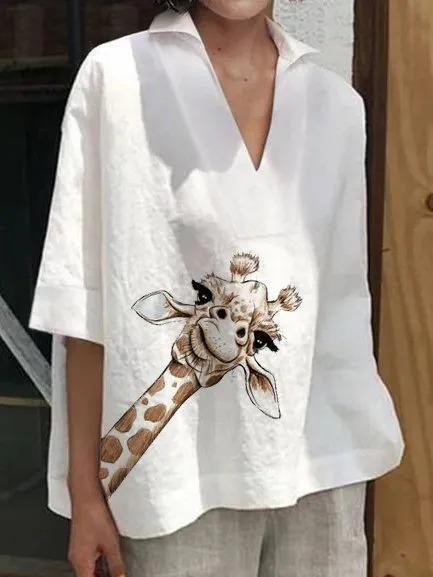 Short Sleeve V Neck Animal Shirts & Tops