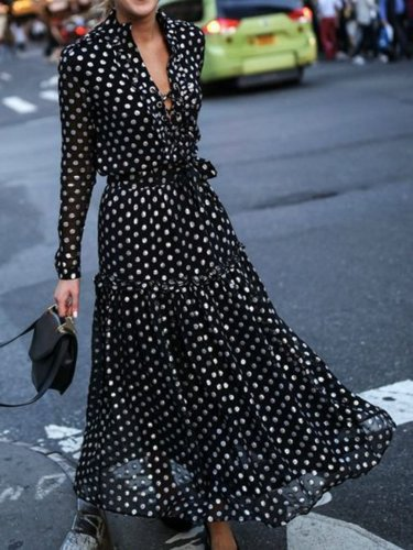 Plus Size Women Date Chiffon Long Sleeve Elegant Paneled Polka Dots Maxi Dress