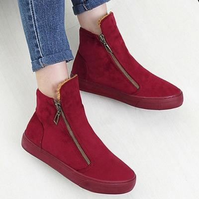 Womens Flat Heel Zipper Daily Snow Boots