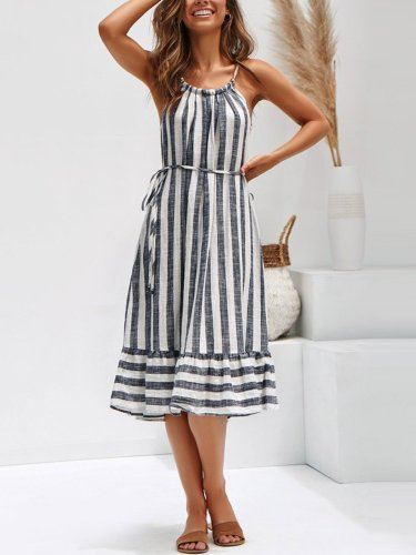 Women Plus Size Stripe Spaghetti-strap  Flounce Holiday  Dress