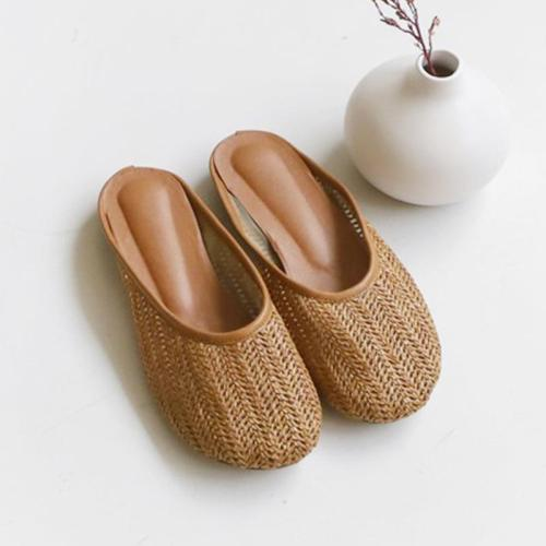 Women Beach Pu Flats Faux Straw Braided Slippers Shoes
