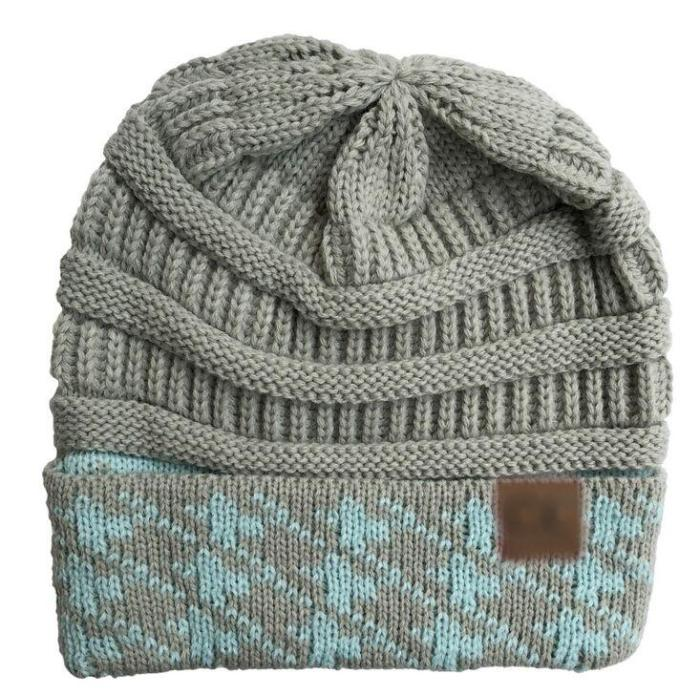 Knitted Cap Autumn Winter Warm Flanging Label Cotton Hats for Women and Girl Skullies Beanies