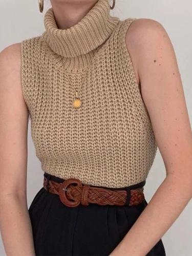 Women's High Neck Sleeveless Knit Sweater Vest