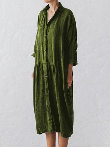 Women Over Sized Linen Dress Shirt