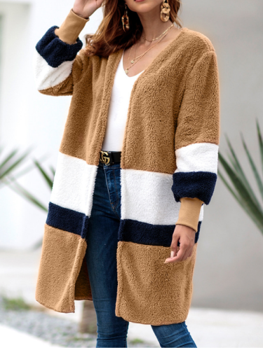 Women Sweater Long Striped Long Sleeve Cardigan Plush Coat