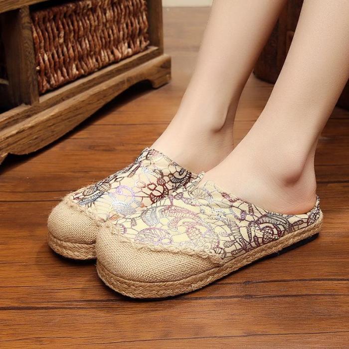 Women's Linen Slippers Straw Women's Shoes