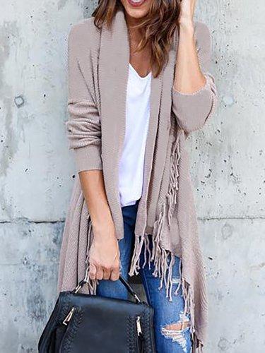 Elegant Fringed Solid Cotton-blend Quilted Coat