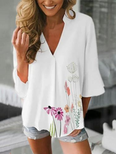 V Neck 3/4 Sleeve Floral Shirts & Tops