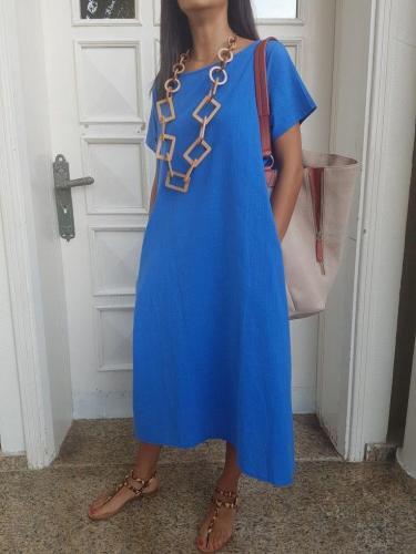 Solid Short Sleeve Cotton-Blend Dresses