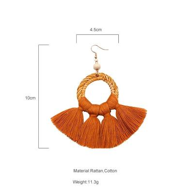 Bohemia Earrings Women Handmade Long Tassel Earring Straw Big Fringe Earrings