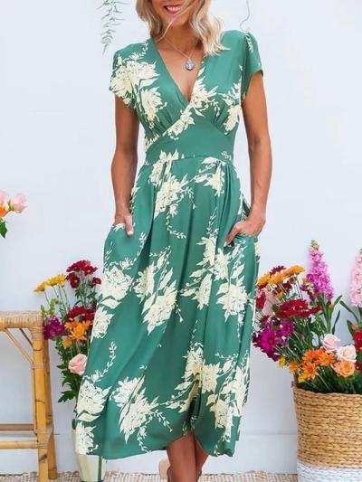 Summer Midi Dress Plus Size Pockets Short Sleeve Dresses