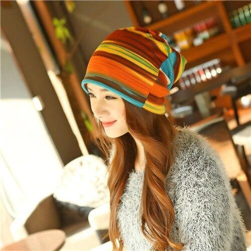 Winter Hip-Hop Hat &Scarf Multifunction Women Knitted Hat Lady Skullies Piles Striped Cap