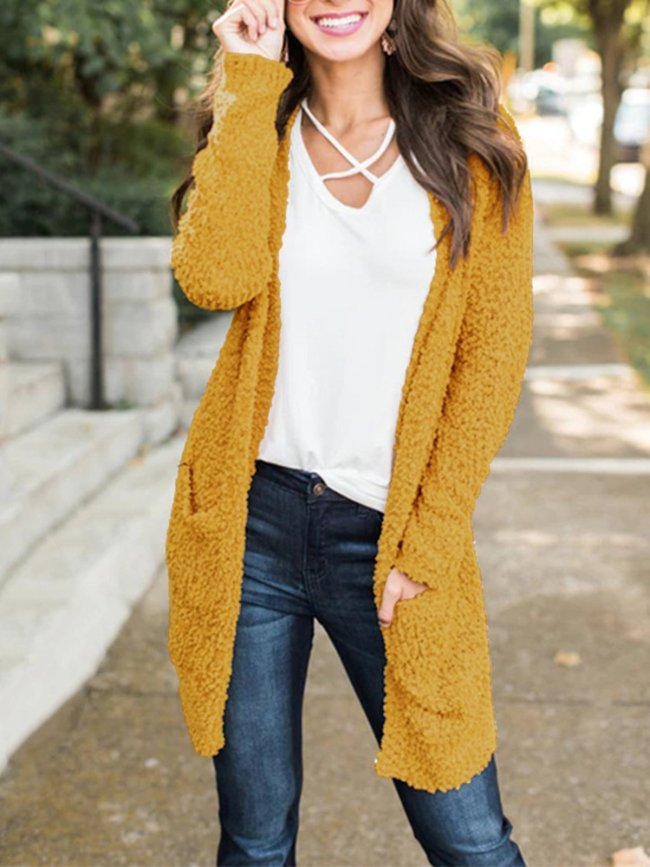 Yellow Casual Solid Knitted Quilted Coat