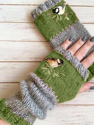 Fashion Warm Stitching Embroidery Gloves