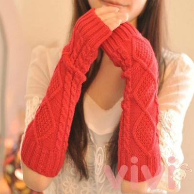 Women Autumn Winter Knit Gloves Arm Wrist Sleeve Warmer Girls Rhombus Long Half Winter Mittens