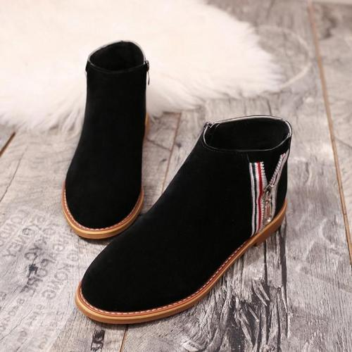 Womens Spring Ankle Suede Comfy Zipper Boots