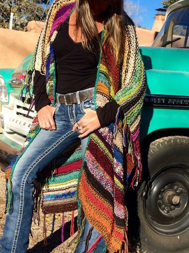 Color-block Long Sleeve Tassel Knitted Outerwear