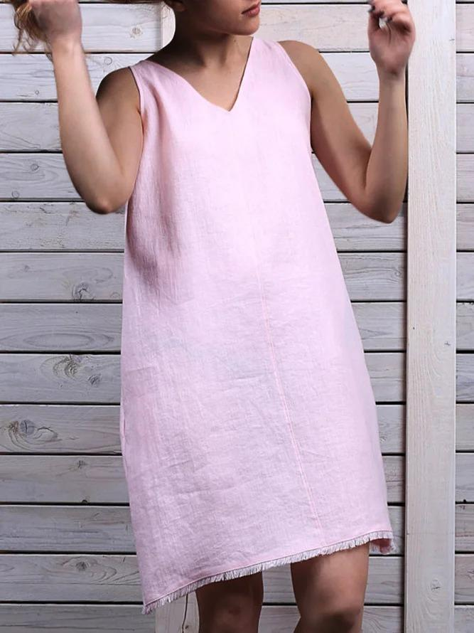 Casual V-neck Sleeveless Mini Dress