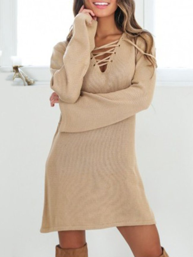 Lace Up Casual Wool Blend V-Neck Long Sleeve Knitted Dress