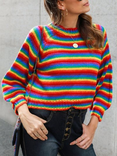 Multicolor Long Sleeve Shift Crew Neck Striped Sweaters