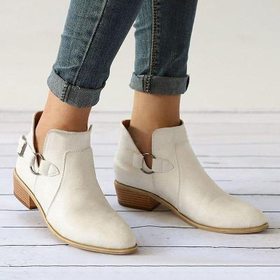Pointed Toe Buckle Decoration Chunky Heel Short Boots Adjustable Buckle Plus Size Shoes